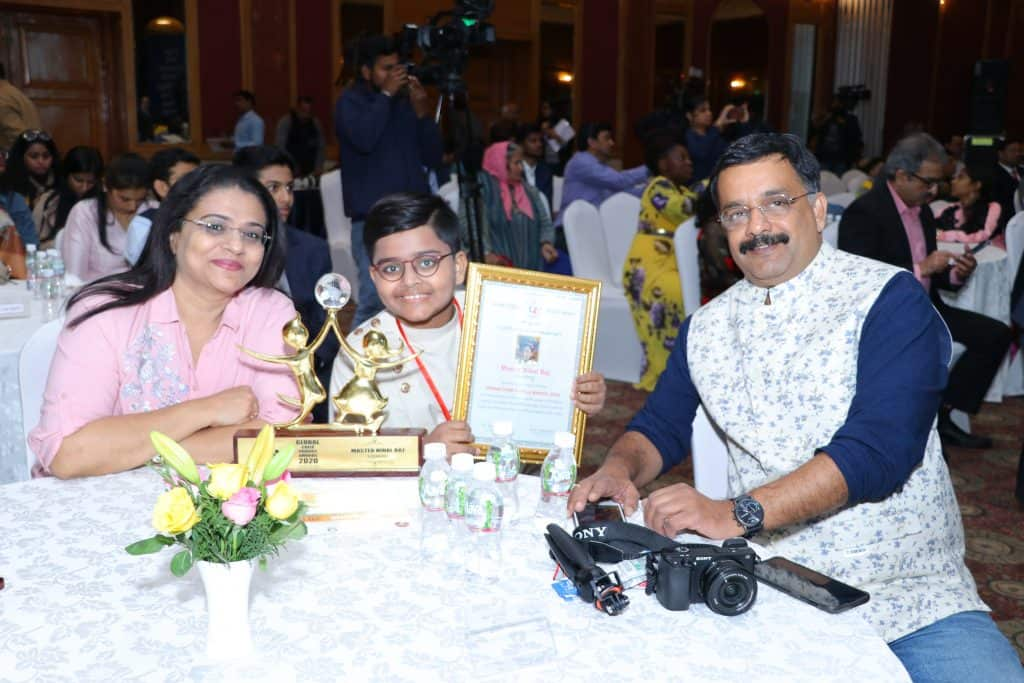 With his family in Global Child Prodigy Awards ceremony 2020.