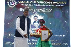 DJ Switch receiving the Global Child Prodigy Award 2020