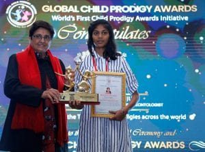 Aswatha receiving Global Child Prodigy Awards 2020